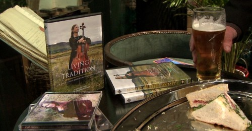 DVDs and CDs for sale at the after-party of the Première of Living the Tradition at the Midleton Mid May Festival 2014.